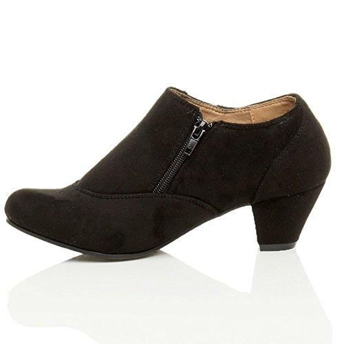 Damen Hoher Absatz Knöpfe Reißverschluss Knöchel Schuh Stiefeletten Größe Schwarz Wildleder