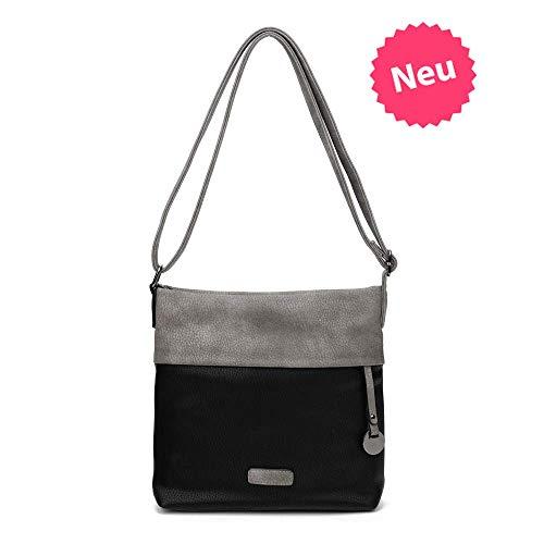 CASAdiNOVA ® Damen Handtasche Klein | Frauen-Hand-Tasche Schwarz | Schultertasche Schwarz| Umhängetasche | Crossbody | Messenger Bag