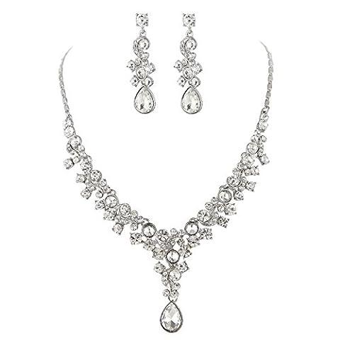 Boucle D'oreille Collier Strass Glamour Parures de Bijoux de Mariage
