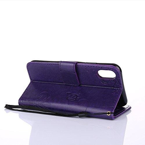 Fodlon® iPhone X Hülle Solide Mode Ameisen Dating PU Leder Tasche Schutzhülle Case Magnetverschluss Telefon-Kasten Handyhülle Standfunktion -Grau Lila