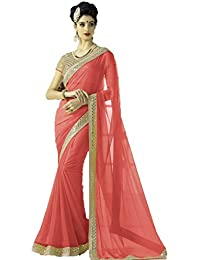 Bhavna Creation Women's Faux Georgette Peach Saree ( New_year_peach )