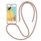 Winhoo Handykette Handyhülle mit Band Kompatibel mit iPhone 6 Plus Hülle iPhone 6s Plus Hülle Silikon & Hard Transparent Durchsichtig Necklace Schutzhülle Kratzfest Handyanhänger - Rose Gold