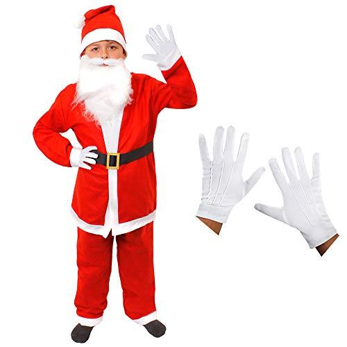 tüm Santa Boy Fancy Kleid 7-teiliges Outfit Kinder Weihnachtsmann Kostüm Jacke + Hose + Bart + Santa Hat + Gürtel + Handschuhe + Augenbrauen ()