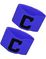 BEETEST 1 par de la banda de capitán de fútbol fútbol letra C patrón elástico brazalete brazo ajustable