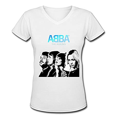 Abba Logo Women V Neck T Shirt Black Medium