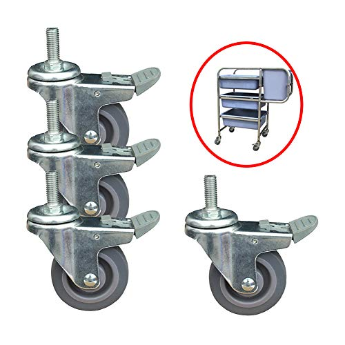 Casters 4 X Lenkrollen 75mm Gummirollen Push Speisewagen Ersatzrad Möbel Hotel Verwendung Bremsrad -