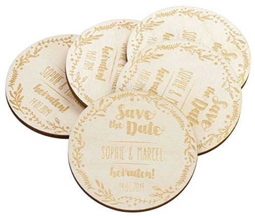 LAUBLUST 50 Personalisierte Einladungskarten zur Hochzeit - Floral - Save The Date Karten aus Holz mit Magnet (Date-kalender-magnete The Save)
