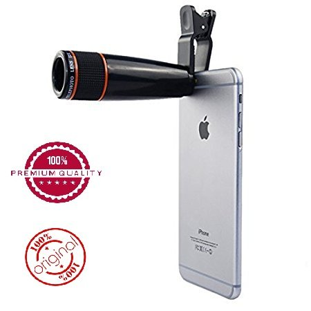 Easypro™ Universal 12X Zoom Mobile Phone Telescope Lens with Adjustable Clip Mobile Phone Lens with Adjustable Clip Holder forXiaomi Redmi Note 4