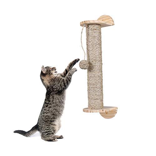 liltemon Kratzbaum mit hängendem Ball Spielzeug Holz Sisal Seil Katze Kratzbaum Haltbare Kratzstange Wandregal Schutz Möbel gesunde Krallen (Zug Möbel)