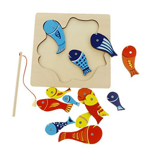 KESOTO Magnetisches Puzzle Angelspiel aus Holz Kleinkindspielzeug Motorikspielzeug für Jungen Mädchen