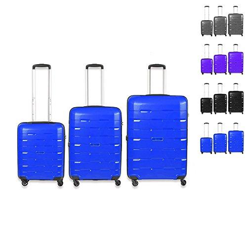 Set di tre valigie, Grandezza M, L, XL. Rivestimento resistente, trolley, borsa da viaggio grau dunkelblau