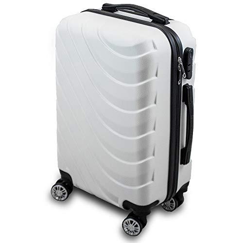 Trolley Hartschalen Koffer Hartschalenkoffer Hardcase Größe M - Modell Wave 2018 (Weiß)