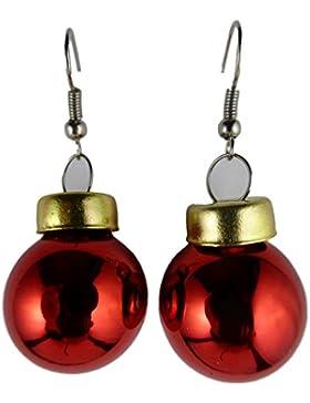 Weihnachtschmuck Ohrringe Weihnachten Schmuck Hänger Christbaumkugel Weihnachtskugel Baumschmuck rot - glänzend...