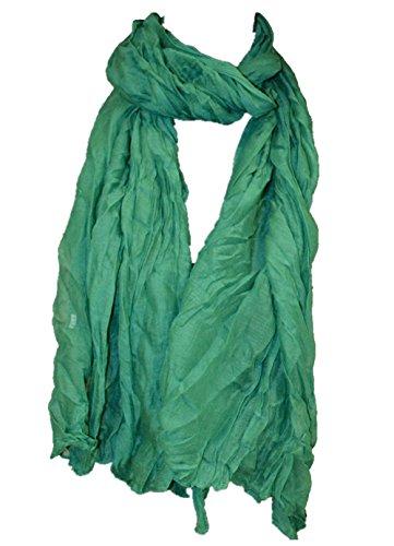 Sommer Farben (Crinkle Schal Halstuch Unifarbe 70 x 180 Frühling Sommer Herbst Offen-Laubgruen)