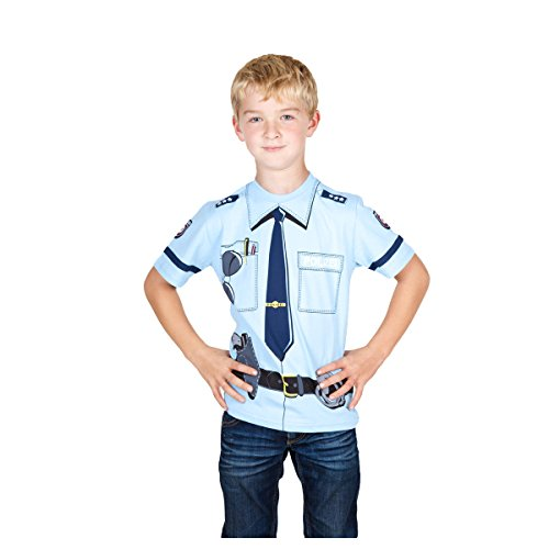 Für Mädchen Kids Kostüme (Kid's Shirt Polizei T-Shirt blau, Größe)