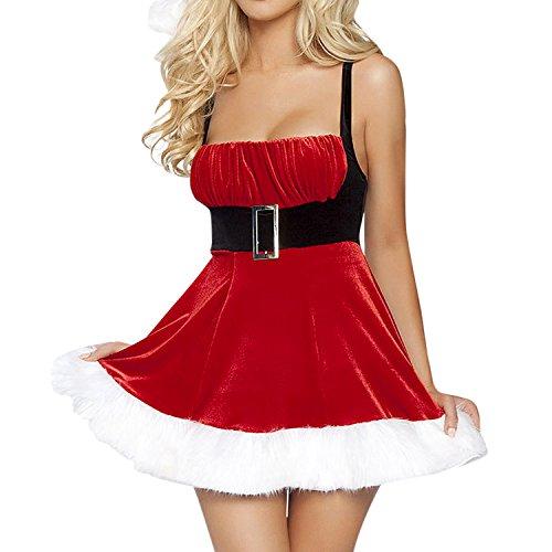 achten Kleid Weihnachtskostüm Santa Claus Kostüm Minikleid Weihnachtsmütze ()