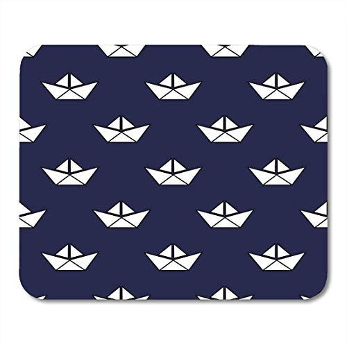Mauspads Boy Navy Float Nautisches Muster mit weißen Booten Baby Style Cute Origami Schiff Buch Kind Mauspad für Notebooks, Desktop-Computer Mauspads -
