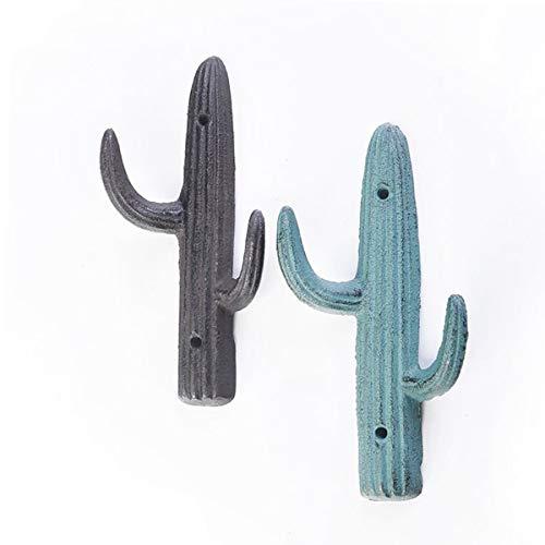 TentHome 2er-Set Garderobe/Wandhaken Landhaus Doppelt Haken Kaktus dekorative Gusseisen Kleiderhaken Garderobenhaken für Badezimmer Küche (Antik Braun/Kupfer Grün)
