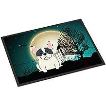 "Caroline tesoros del bb2201mat Halloween Scary Piebald Bulldog Francés interior o al aire libre alfombrilla, 18x 27"", multicolor"