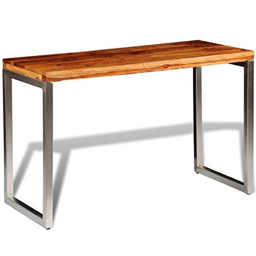 vidaXL Massivholz Esstisch Küche Sheesham Arbeitstisch Schreibtisch Stahlbeinen