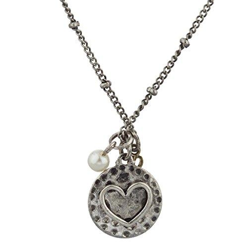 LUX Zubehör Boho brüniert Silber Love Herz Pearl Cluster Charme Halskette