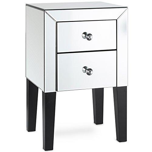 Beautify Verspiegelter Nachttisch mit 2 hohen glänzenden silbernen Schubladen