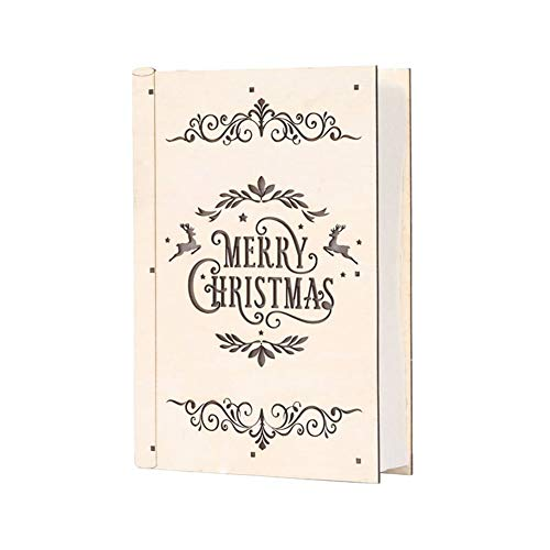 Luxus-Haus-LED-Holz Ornament Weihnachtsdekoration, für Weihnachten Neujahr Schlafzimmer Showcase Decor Kinder Geschenke Buch