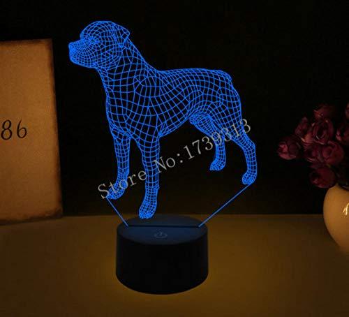 LULO 3D Visual Illusion Lampe Bulldog Pudel Jack Russell Terrier Rottweiler Dobermann LED Nachtlicht Dog Style Schreibtisch Light-D -