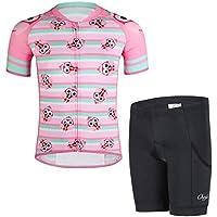 YFPICO Traje de Ciclismo Niño/Niña Maillot Transpirable para Deportes al Aire Libre,Bicicleta Camiseta Manga Corta + Pantalon Corto con Asiento Acolchado, Rosa + Verde, 146