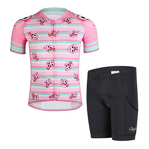 LSHEL Kinder Radsport Anzüge (Fahrrad Trikot Kurzarm + Radhose), Rosa Eule, 146(Herstellergröße: XXL)