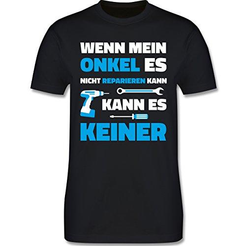 Bruder & Onkel - Wenn Mein Onkel ES Nicht Reparieren Kann - Herren T-Shirt Rundhals Schwarz
