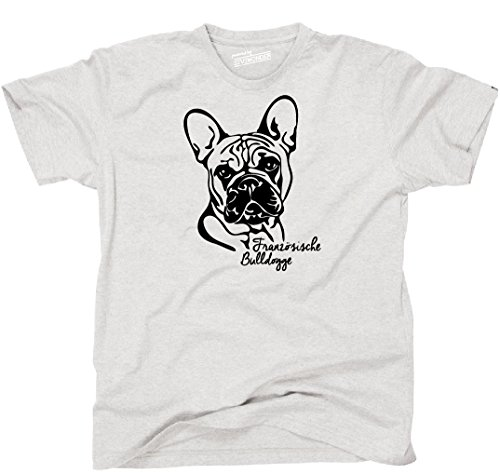 Siviwonder Unisex T-Shirt FRANZÖSICHE BULLDOGGE Portrait Hund Hunde Wilsigns Ash