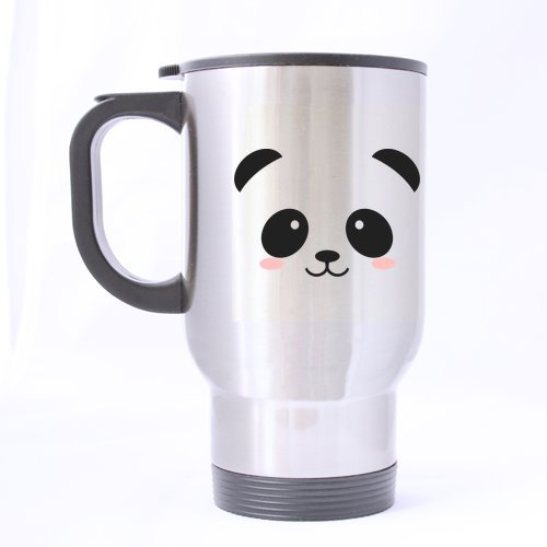 Novelty Design 14oz Cute & Funny Panda Face (Sliver) Mug Stainless Steel Travel Mugs - Top Quality - Lifetime Warranty by Funny Mugs