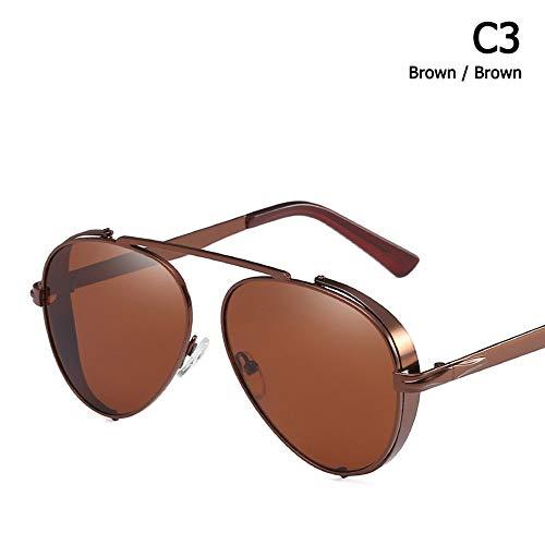 ZHOUYF Sonnenbrille Fahrerbrille Mode Luftfahrt Stil Steampunk Sonnenbrille Männer Metall Dicke Seite Sonnenbrille Oculos De Sol, C
