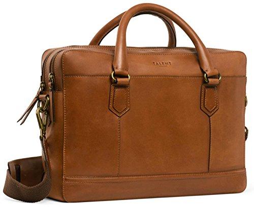 TALENT 'Kant' Ledertasche - Elegante Laptoptasche Bürotasche Schultertasche 15 Zoll Laptop Kalbsleder Cognac -