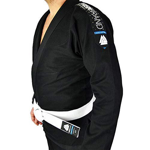 Prismbrand Kimono JJB Gi BJJ Jiu Jitsu Gürtel, Weiß - Schwarz - A4 (Bjj Gi A4)