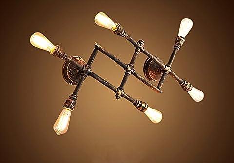 Rostige Farbe Retro Industrie Steampunk Rohr Eisen Wandlampe Vintage Kreative