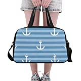 Qdosk Marine Sea Anchor Sailor Personalizzato Grande Yoga Gym Totes Borse da Viaggio Borse da Viaggio con Tracolla Scarpa Pouch per l'esercizio Sport Bagagli per Ragazze Uomo Donna Outdoor