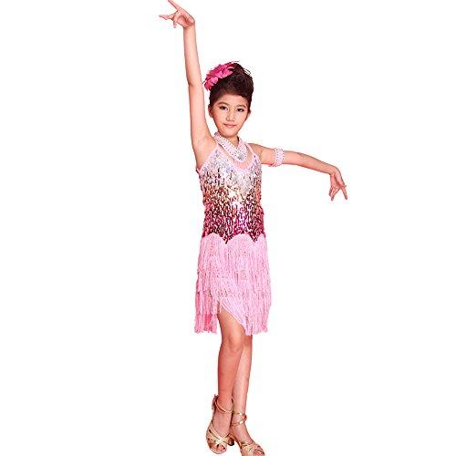 ESHOO Mädchen Kinder Sequined Latein Salsa Tassel Dancewear -
