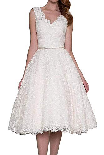 Hochzeitskleider Kurz Brautkleid Ballkleider Abendkleider Spitze V-Ausschnitt A Linie Weiß EUR44