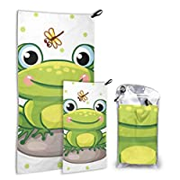 JOCHUAN Stylish Cute Smiley Frog With Dragonfly 2 Pack Microfiber Hiking Beach Towel Boy Towels Beach Set Fast Drying Best For Gym Travel Backpacking Yoga Fitnes