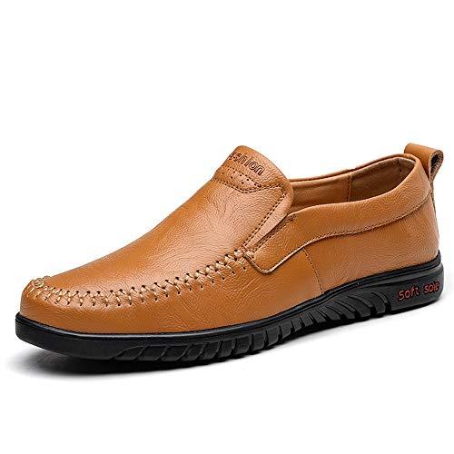 HYF Herren Oxford Schuhe Driving Penny Loafer Slip On Stil Weiche Mikrofaser Leder gefüttert Boot Mokassins Männerschuhe (Color : Gelb, Größe : 37 EU)