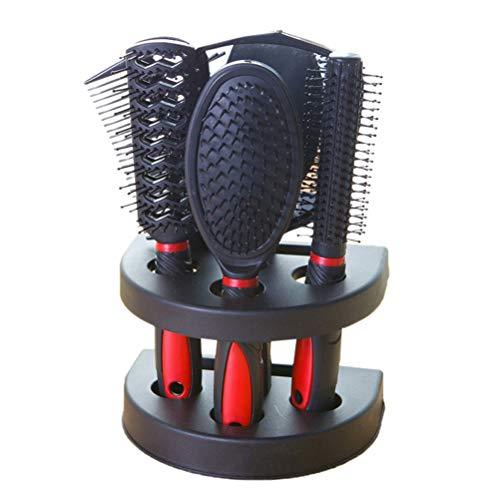 Frcolor 5 pcs Professional Hair Salon Peigne de Cheveux et Miroir Kits Salon Peigne de barbier brosses Antistatique Brosse à Cheveux Soin des Cheveux Styling (Rouge)