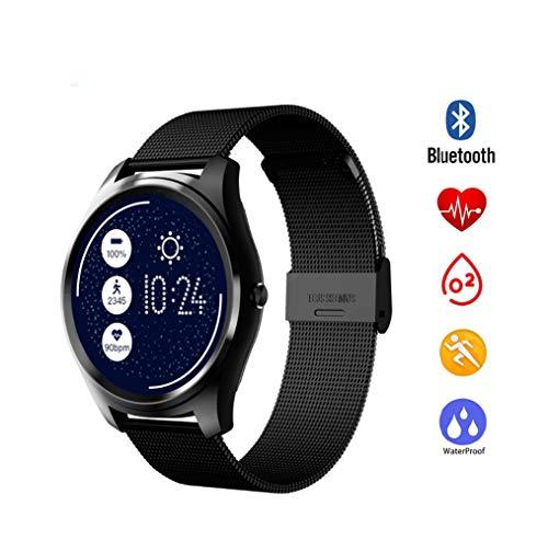 UMGZY Rastreadores de Ejercicios Pulsera Inteligente Bluetooth Control de Voz Inteligente Frecuencia cardíaca Monitor de presión Arterial Podómetro para Android iOS Reloj Unisex,Black