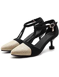 Onfly Mujer Dedo del pie puntiagudo Respirable Tacones medianos Sandalias Correa en T Correa de tobillo Bomba Tacón de gatito Zapatos Boda Fiesta OL Zapatos de baile Talla grande 32-47 , gold , 34