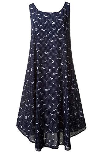 oße Größen | Kleid mit Punkten und Möwen. Ärmellos | ausgestellte Form | gerundeter Saum | bis Größe 58+ | Marine 42/44 710662 70-42+ ()
