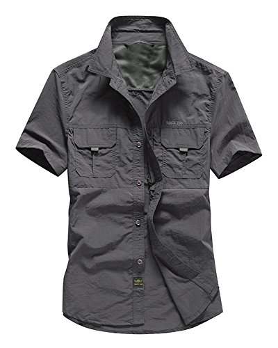 Herren Camping Outdoor Reise Klettern Hemden Freizeit T-Shirts Kurzarm Hemd Tops Grau 3XL -