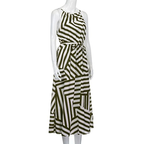 Bekleidung Longra Damen gestreift Sommerkleid Boho Maxi Lange Abend Party Strandkleid Sundress Army Green
