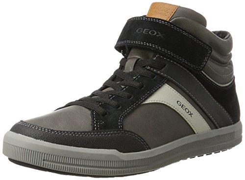 Geox J Arzach C, Baskets Hautes Mixte Adulte Gris (Dk Grey/black)