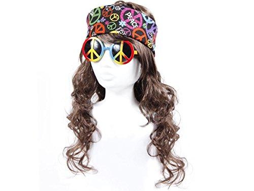 Alsino KV-04 Hippie 70er Jahre Perücke Flower Power Peace Brille Stirnband Bandana 02 (John Lennon Hippie Kostüm)